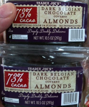 Trader joes choc almonds front