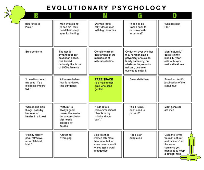 Evolutionary psych bingo card